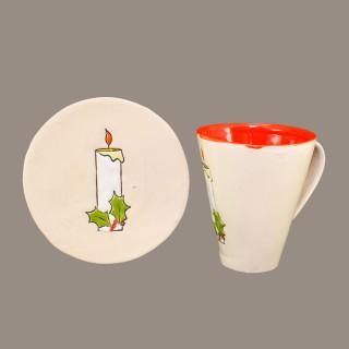 """"""" Christmas candle"""" Mug type Cone and Plate- Set"""