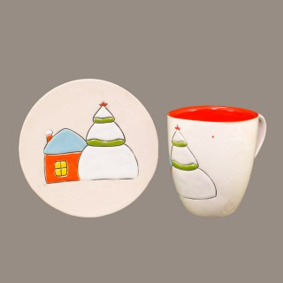 """ House in the snow"" Mug Type Cone and plate - Set"