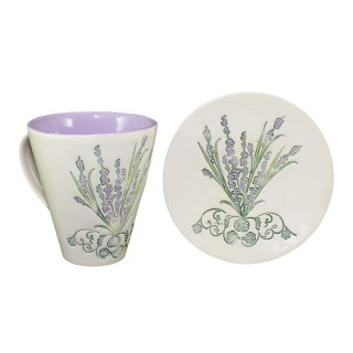 Lavander LC1P1 -  Cone Mug and plate - size S - Set