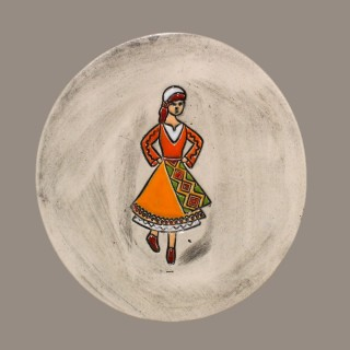 Maiden in orange garb - plate size S - model 1