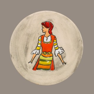Maiden in orange garb - plate size S - model 2