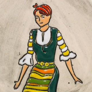 Maiden with green garb - mug bell