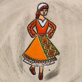 Maiden with orange garb - mug bell