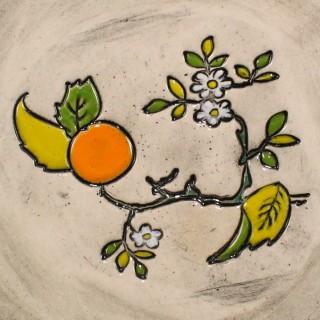 Orange tree branch cone mug